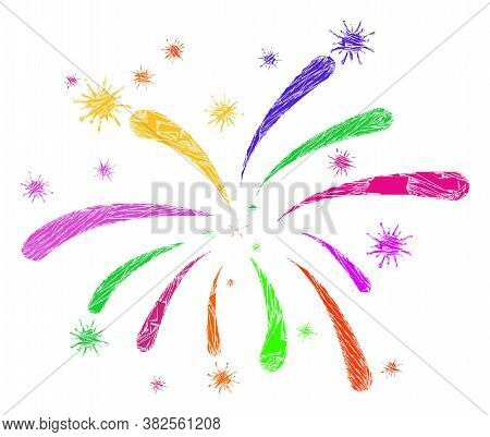 Debris Mosaic Viral Fireworks Icon. Viral Fireworks Mosaic Icon Of Detritus Items Which Have Variabl