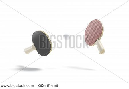 Blank Black, Red Wood Table Tennis Racket With Ball Mockup, Depth Of Field, 3d Rendering. Empty Rubb