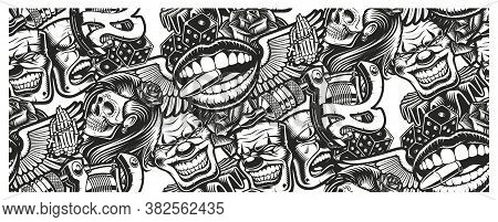 Seamless Tattoo Background With A Skull, Mask, Tattoo Machine, And Other Elements Tattoo.