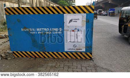 Mumbai, Maharastra/india- January 15 2019: Road Blockade For The Construction Of Underground Rail Ne