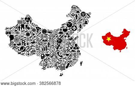 Mosaic China Map With Health Care Icons And Basic Icon. Mosaic Vector China Map Is Created From Heal