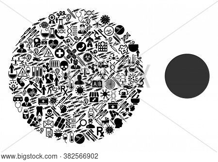 Mosaic Circle From Medic Icons And Basic Icon. Mosaic Vector Circle Is Created From Medic Icons. Abs