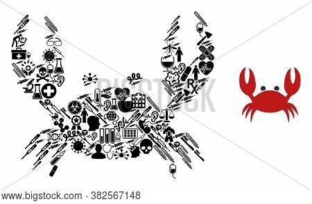 Mosaic Crab From Health Symbols And Basic Icon. Mosaic Vector Crab Is Created Of Health Care Symbols