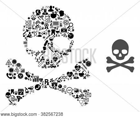 Mosaic Death Crossbones Of Healthcare Icons And Basic Icon. Mosaic Vector Death Crossbones Is Design