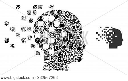 Mosaic Digital Mind Of Health Icons And Basic Icon. Mosaic Vector Digital Mind Is Composed From Heal
