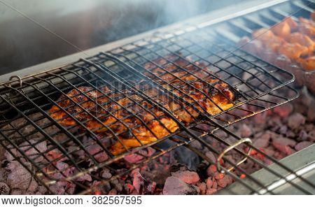 Chicken Barbeque With Charcoal .arab Food And Barbeque Chicken.bbq Food