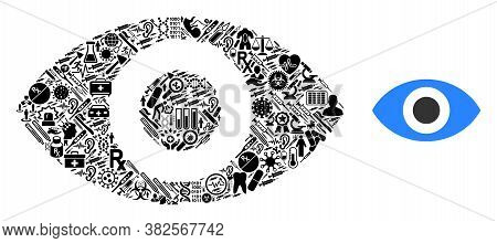Mosaic Eye With Medic Symbols And Basic Icon. Mosaic Vector Eye Is Formed With Medic Items. Flat Ill
