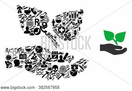 Mosaic Flora Care Hand With Health Care Symbols And Basic Icon. Mosaic Vector Flora Care Hand Is Cre