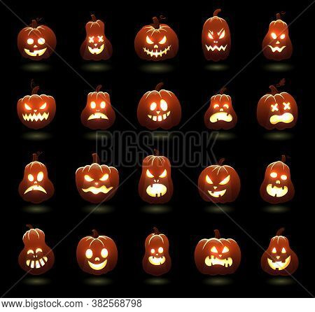 Halloween Pumpkins. Cartoon Scary Carving Pumpkin Characters, Angry Glowing Pumpkins Faces, Holiday