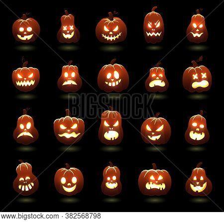 Halloween Pumpkins. Cartoon Scary Carving Pumpkin Characters, Angry Glowing Pumpkins Faces, Holiday