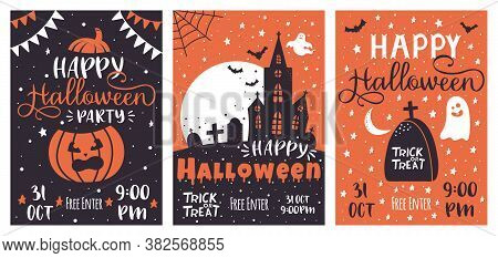 Halloween Party Posters. Scary Pumpkin, Haunted House, Flying Bats Greeting Spooky Traditional Party