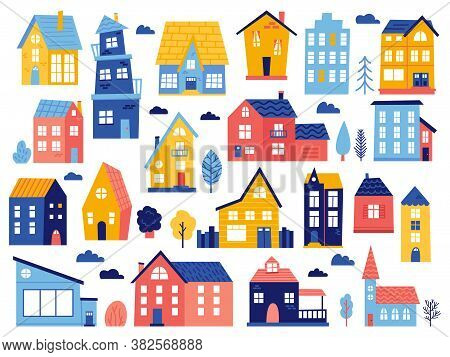 Doodle Cottages. Cute Tiny Town Houses, Minimal Suburban Houses, Residential Town Buildings Vector I