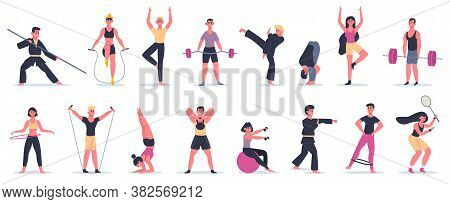 Fitness Sport Activities. People Training, Male Female Characters Performing Sport, Martial Arts And