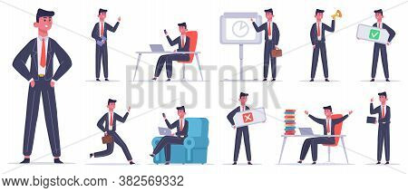 Businessman Character. Male Office Worker, Success Business Employee, Professional Finance Leadershi