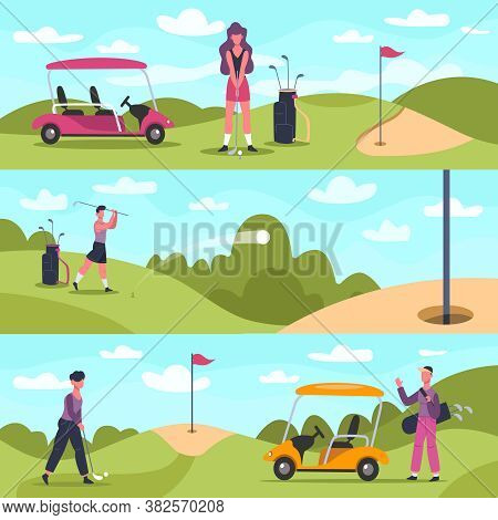 Golf Banners. Male And Female Golf Characters Playing Outdoor Sports, Golf People Chase And Hit Ball