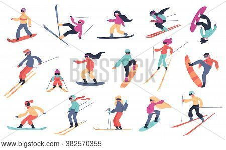 Skiing Snowboarding People. Winter Sport Activities, Young People On Snowboard Or Ski, Extreme Mount