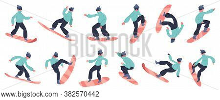 Snowboard Character. Young Male Snowboarder Jump On Mountain, Winter Extreme Snow Activity, Fitness