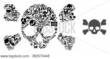 Mosaic Skull Crossbones With Health Care Symbols And Basic Icon. Mosaic Vector Skull Crossbones Is D