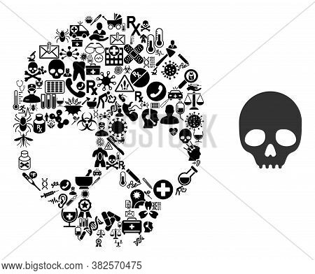 Mosaic Skull Of Health Symbols And Basic Icon. Mosaic Vector Skull Is Composed Of Health Care Items.