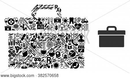 Mosaic Toolbox Of Health Items And Basic Icon. Mosaic Vector Toolbox Is Designed Of Health Care Item