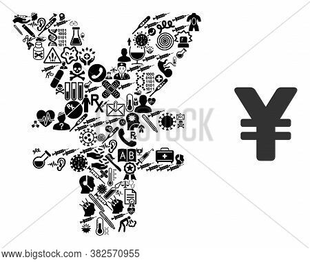 Mosaic Yen From Health Icons And Basic Icon. Mosaic Vector Yen Is Created Of Health Icons. Abstract