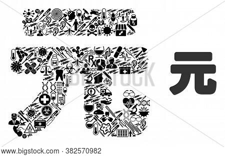 Mosaic Yuan Renminbi With Medicine Icons And Basic Icon. Mosaic Vector Yuan Renminbi Is Created With