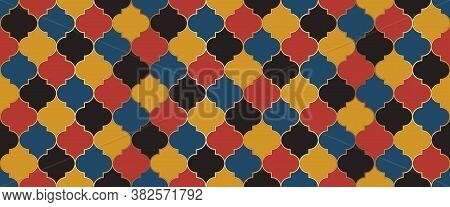 Traditional Ramadan Golden Mosque Grid. Moroccan Seamless Mosaic Design. Ramadan Kareem Muslim Backg