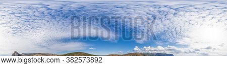 Panorama Of Sky With Clouds Without Ground, For Easy Use In 3d Graphics And Panorama For Composites