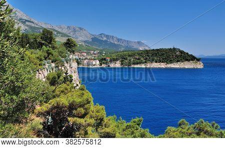 A Beautiful Landscape Of The Mountain Biokovo From Cape St Peter. Makarska, Dalmatia, Croatia.