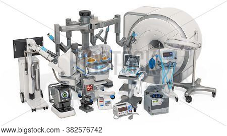 Medical Surgical, Diagnostic And Laboratory Equipments, 3d Rendering Isolated On White Background