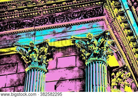 Capital And Columns In An Ancient Roman Temple At Nimes. City Famous For Ancient Roman Temples And A