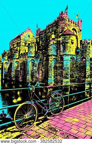 Bridge And Bike In Front Of Gravensteen Castle In Ghent. A City Full Of Flemish Style And Gothic Bui