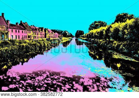 Houses And Trees Along Canal With Sky Reflected On Water Near Damme. A Quiet And Charming Countrysid