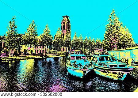 Boats Moored On The Canal Margin And Trees At Weesp. Quiet And Pleasant Village Full Of Canals In Ne