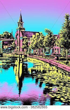 Canal With Church, Brick Houses And Trees On The Banks In Weesp. Quiet And Pleasant Village Full Of
