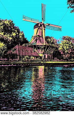 Wooden Windmill Next To Wide Tree-lined Canal At Weesp. Quiet And Pleasant Village Full Of Canals In