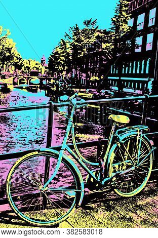 Bicycle Stuck In A Bridge Balustrade Over Canal Of Amsterdam. The Dutch Capital, Famous For Its Cult