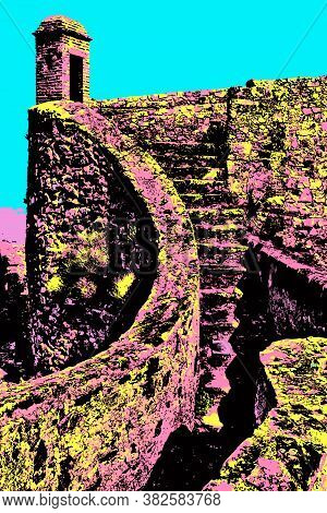 Pathway And Stairs On Stone Wall And Watchtower At The Marvao Castle. A Medieval Fortified Village O