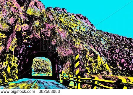 Road Passing Through Tunnel Dug On Rock At The Serra Da Estrela. The Highest Mountain Range In Conti