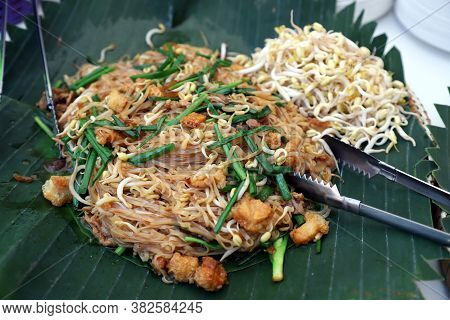 Korat Pad Mee Is A Local Dish From Nakhon Ratchasima, Thailand, Looks Similar To Pad Thai In The Cen