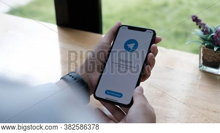 Chiang Mai, Thailand May 6 2020 : Telegram Application Icon On Apple Iphone Xs Screen Close-up. Tele