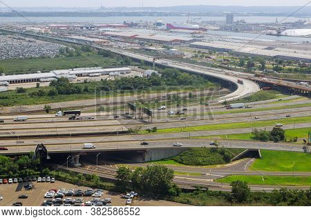 Elevated Expressway The Curve Of Suspension Bridge, Aerial View Scenic Road Newark Nj Usa