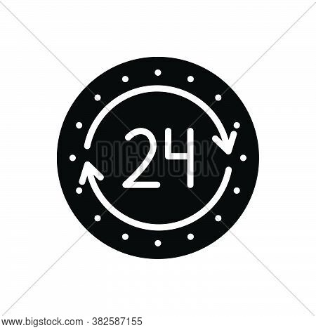 Black Solid Icon For 24h Agency Always Anytime Service Assistance Available Emergency Help Hour Cont