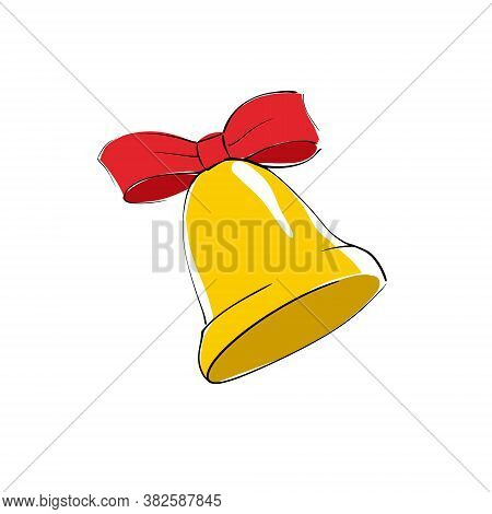 Vector Yellow Bell Icon With Red Bow Knot Ribbon On White Background. Flat Icon For A Website, App,