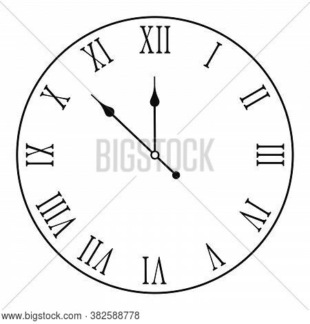 Mechanical Wall Clock Face With Roman Numerals. Measuring Time. Countdown To The New Year 2021. Vect