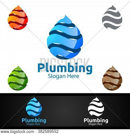 3d Plumbing Logo With Water And Fix Home Concept Design