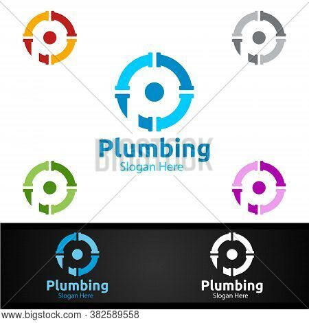 Letter P Plumbing Logo With Water And Fix Home Concept