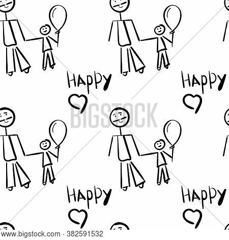 Seamless Pattern. Adult And Child, Father And Son. Happy Writing. Vector Hand-drawn Illustration. Ch