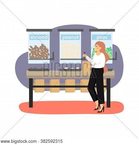 Eco Friendly Shop. Woman, Ecologist Buying Peanuts, Almonds And Peas, Flat Vector Illustration