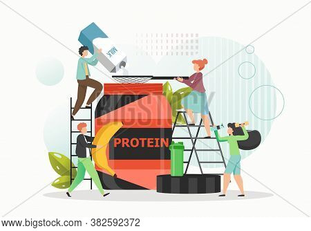 Tiny People Making Whey Protein Powder For Building Muscle, Weight Loss, Flat Vector Illustration